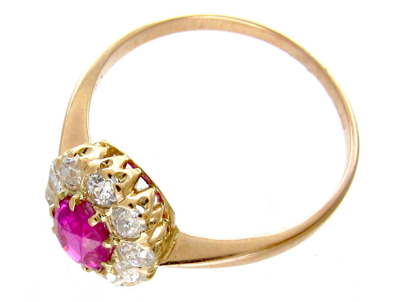 Edwardian Ruby & Diamond Cluster Ring