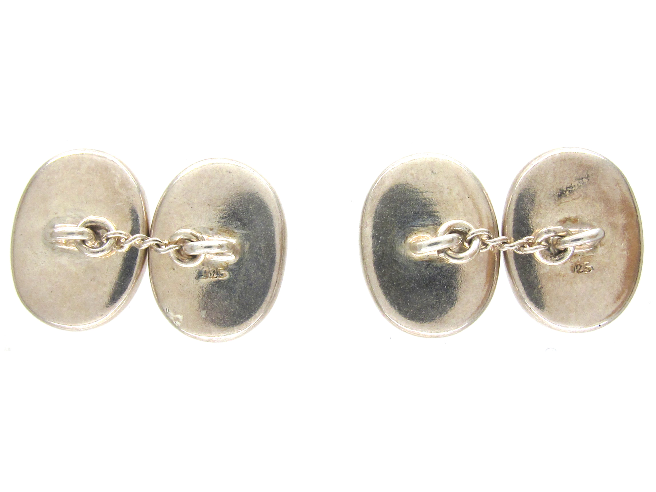 Silver & Porcelain Four Vices Cufflinks