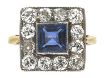 Art Deco 18ct Gold & Platinum Square Sapphire & Diamond Ring