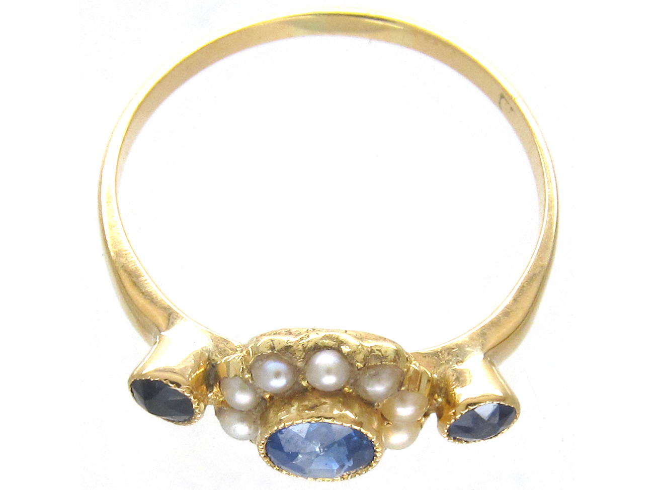 Edwardian 18ct Gold Sapphire & Natural Pearl Cluster Ring
