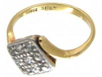 Art Deco 18ct Gold & Platinum & Diamond Tilted Square Ring