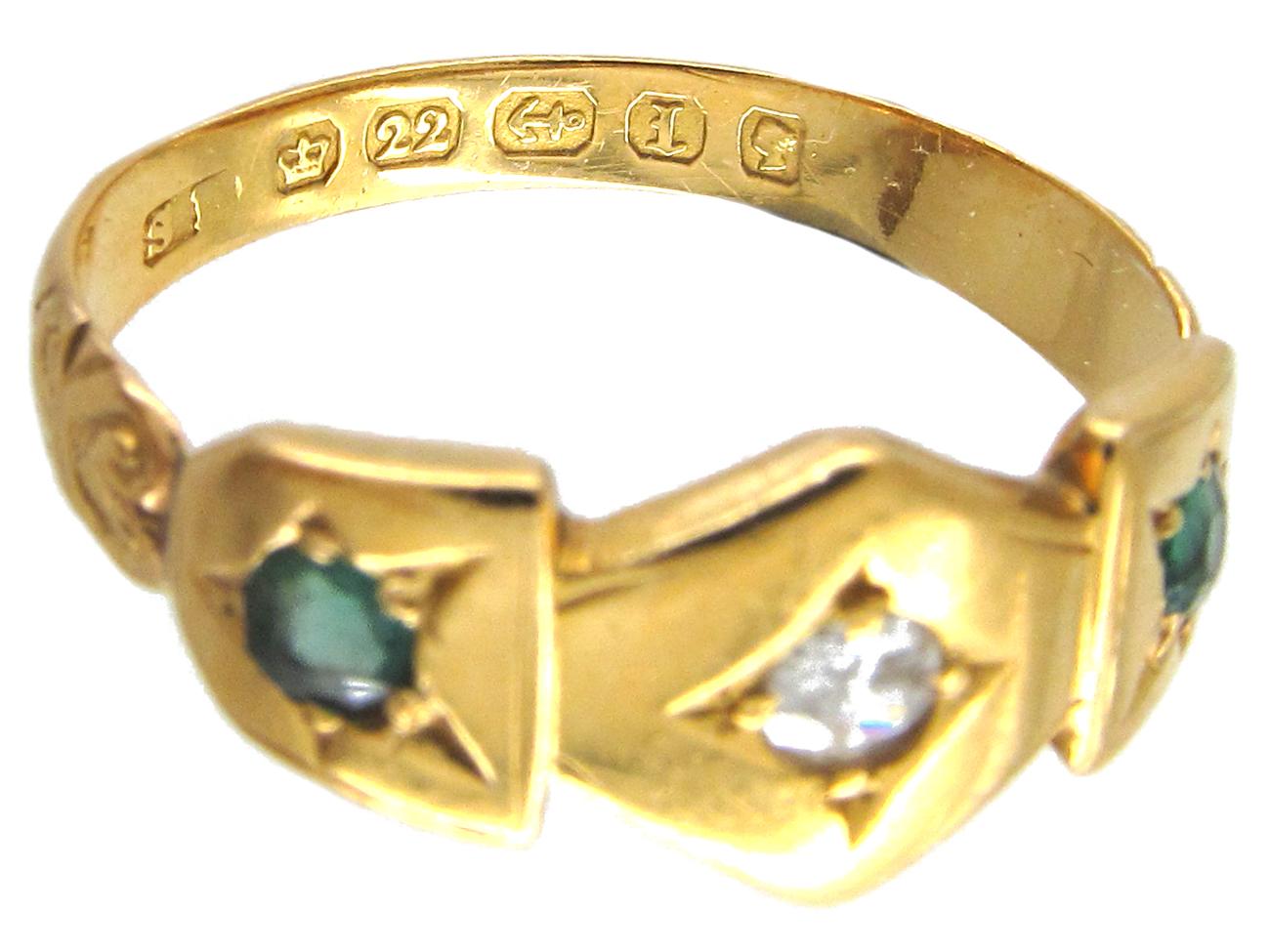 Victorian 22ct Gold Emerald & Diamond Ring