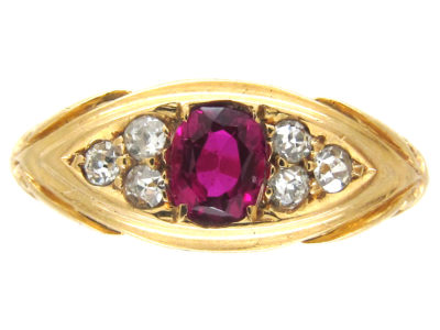 Victorian 18ct Gold Ruby & Diamond Ring