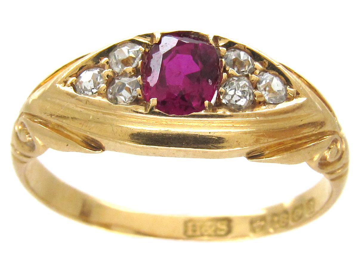Victorian 18ct Gold Ruby & Diamond Ring
