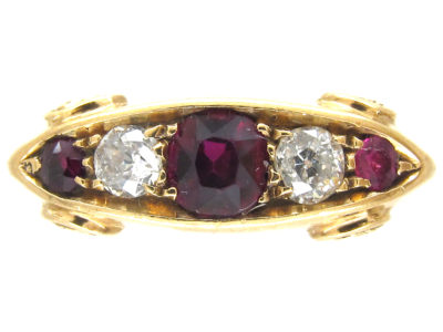 Edwardian 18ct Gold Ruby & Diamond Five Stone Ring