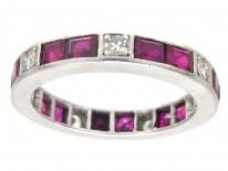 Art Deco Platinum Diamond & Ruby Eternity Ring