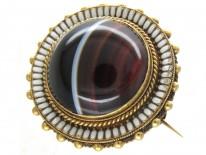 Victorian 15ct Gold, Enamel & Banded Sardonyx Round Brooch