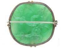 Art Deco Natural Green Jade Carved Flowers Brooch