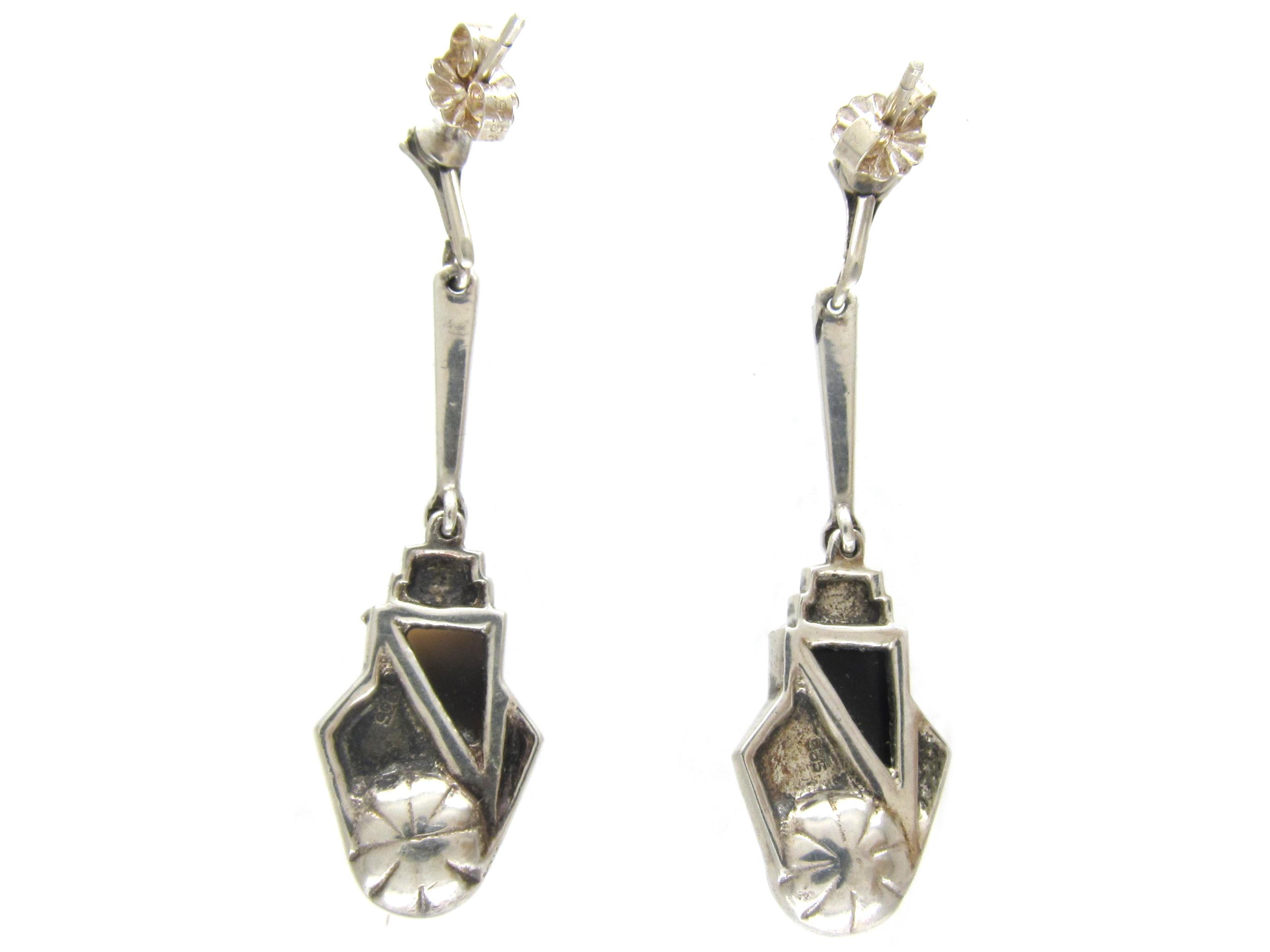 Art Deco Silver, Onyx, Pearl & Marcasite Earrings