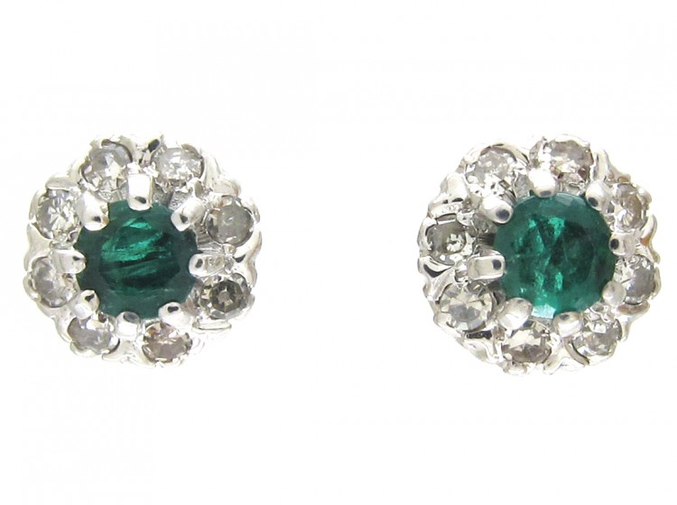 Diamond & Emerald Cluster Earrings
