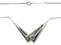 Art Deco Silver, Onyx, Pearl & Marcasite Pendant on Chain