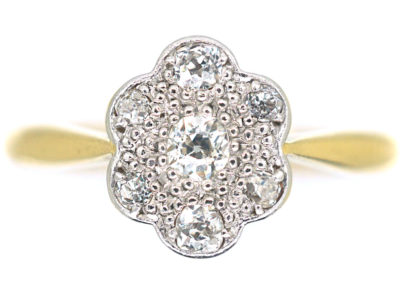 Edwardian 18ct Gold & Platinum Diamond Set Oval Daisy Cluster Ring
