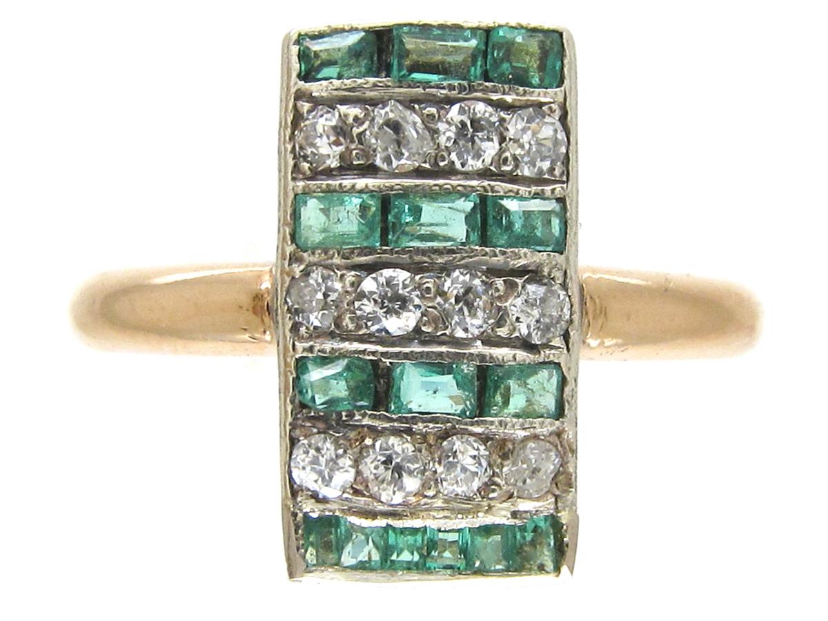 Art Deco Emerald & Diamond Rectangular Stripes Ring