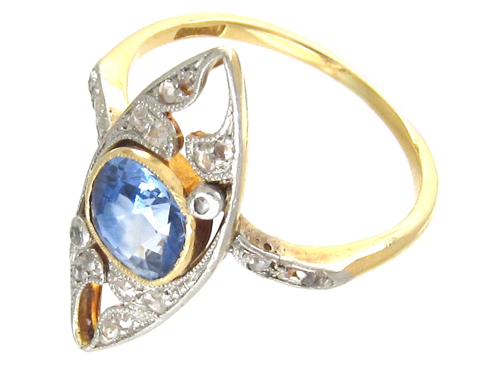 Edwardian Marquise Shaped Sapphire & Diamond Ring