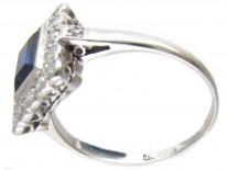 Art Deco Platinum, Sapphire & Diamond Rectangular Ring
