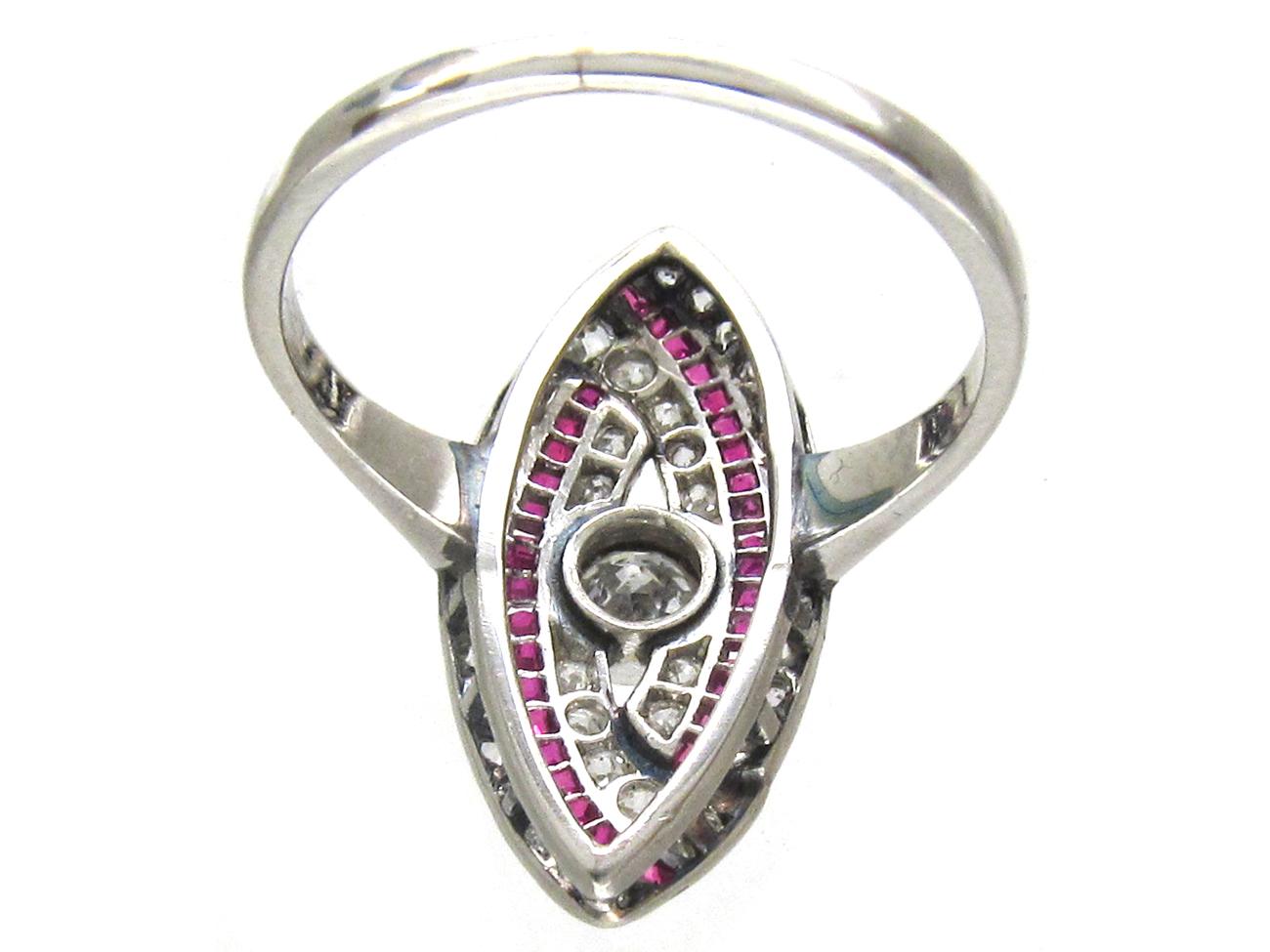 Art Deco Platinum, Ruby & Diamond Wrapover Ring