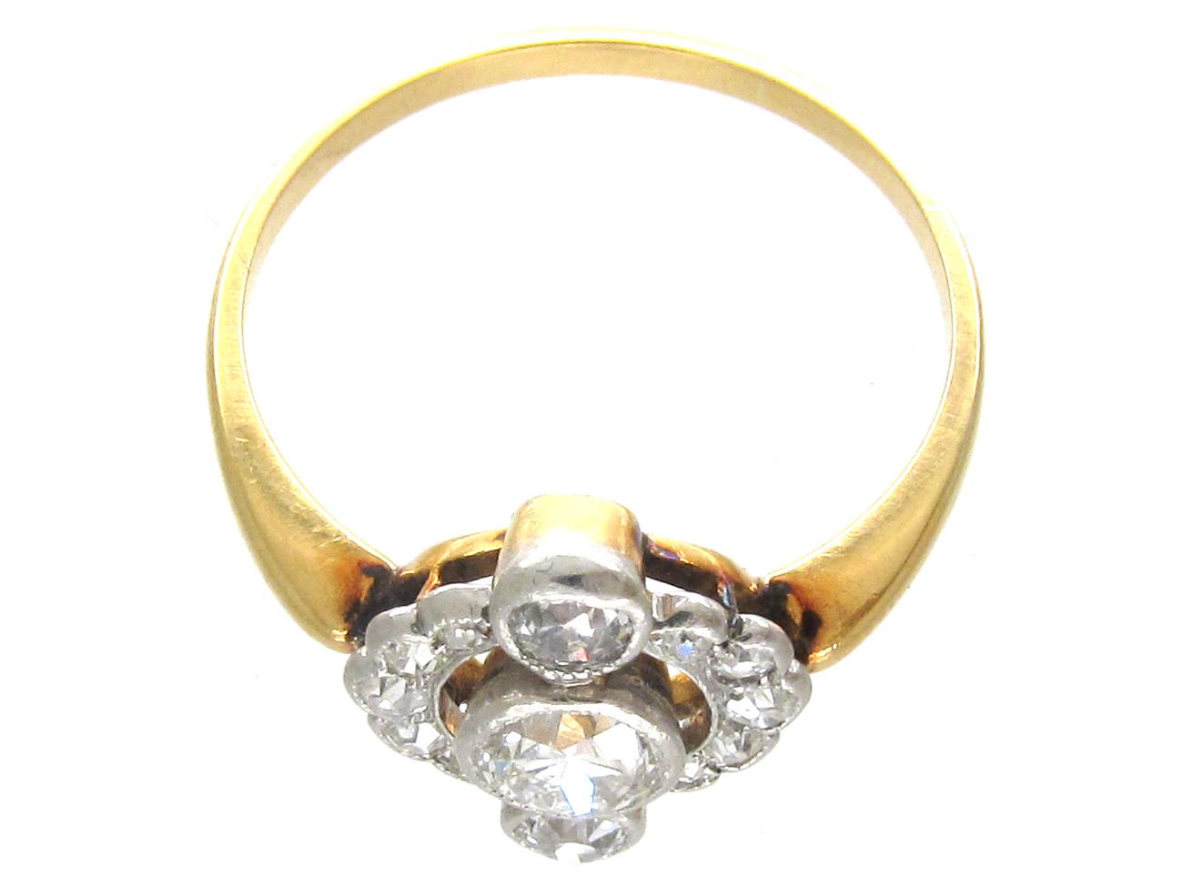 Art Deco Three Stone Diamond Cluster Ring