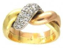 18ct Diamond Twist Three Colour Gold Ring