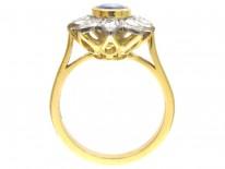 18ct Gold Sapphire & Diamond Pointed Petal Flower Ring