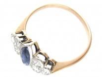 Art Deco Lozenge Shaped Burma Sapphire & Diamond Ring
