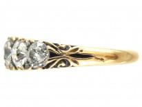 Victorian 18ct Gold & Five Stone Diamond Ring