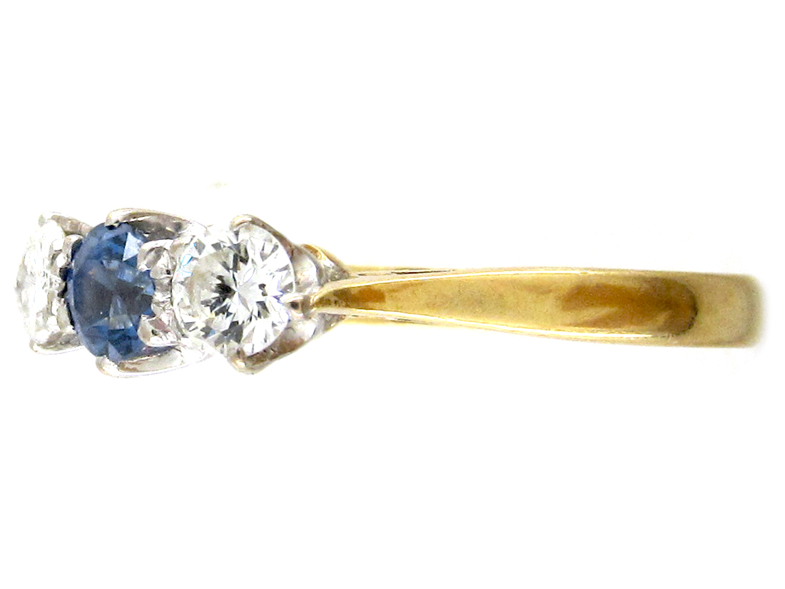 Art Deco 18ct Gold, Sapphire & Diamond Three Stone Ring