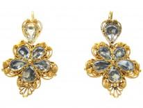 Georgian 18ct Gold Foiled Aquamarine Pansy Earrings