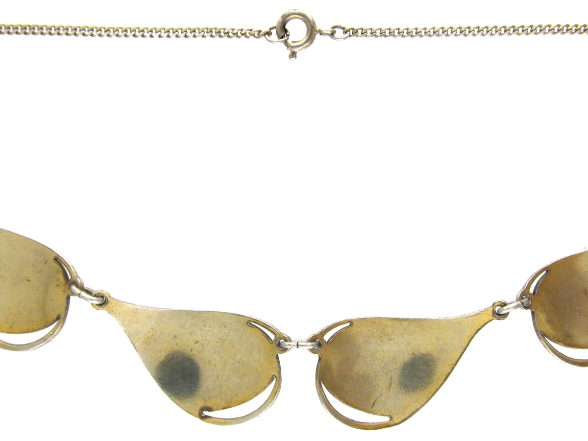 Norwegian Silver Gilt & White Enamel Leaf Necklace