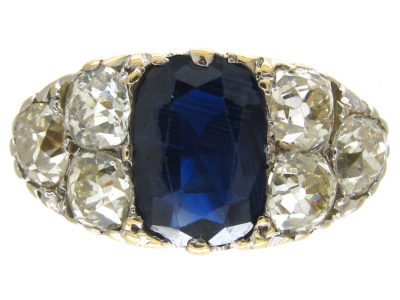 Victorian Large Sapphire & Old Mine Cut Diamond Ring