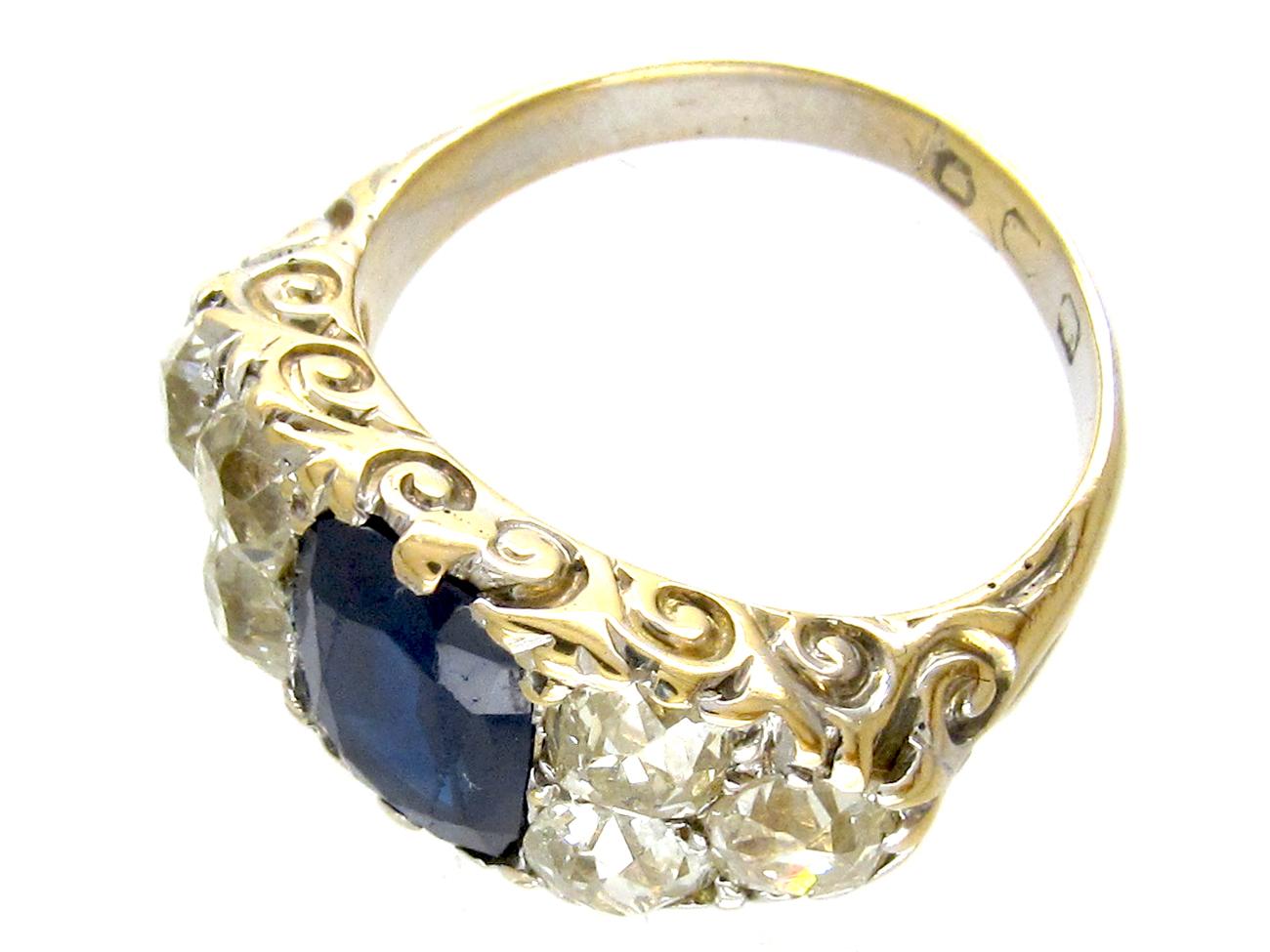 Victorian Large Sapphire & Old Mine Cut Diamond Ring