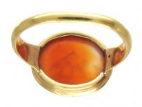 Minoan Carved Carnelian Intaglio in 18ct Gold Georgian Ring