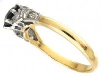 18ct Gold & Platinum Burma Sapphire & Diamond Shoulders Art Deco Ring