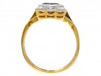18ct & Platinum Art Deco Sapphire & Diamond Square Ring