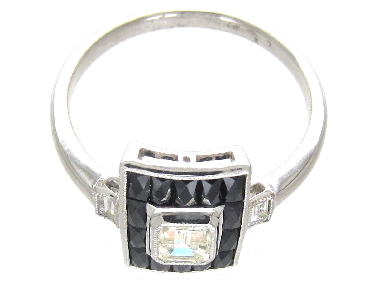 Art Deco 18ct White Gold Rectangular Onyx & Diamond Ring
