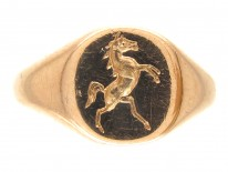 18ct Gold Signet Ring with Rearing Horse Intaglio