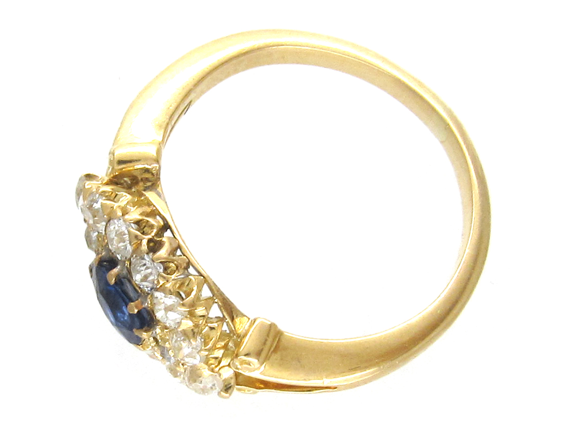 Edwardian 18ct Gold Sapphire & Diamond Oval Cluster Ring