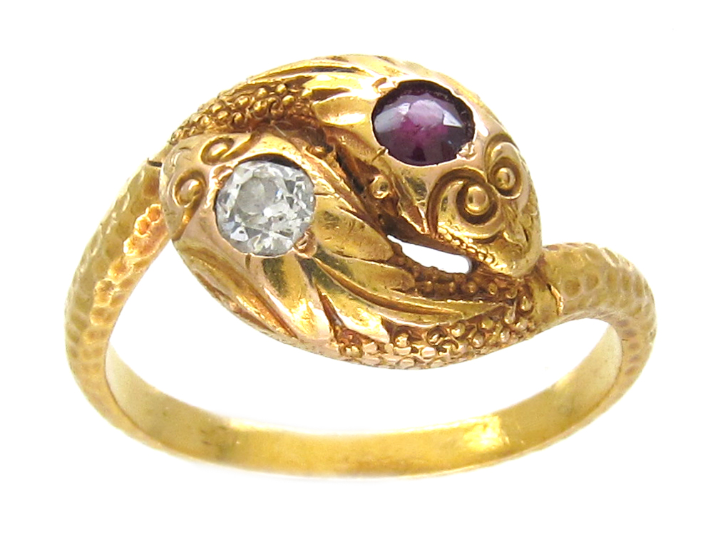 Victorian 18ct Gold Double Snake Ring set with a Ruby & Diamond
