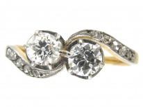 Edwardian 18ct Gold & Platinum Two Diamond Crossover Ring