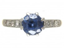 Edwardian Solitaire Ceylon Sapphire with Diamond Shoulders Ring