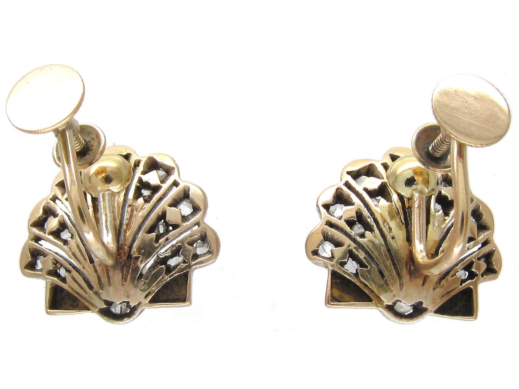 Edwardian Natural Pearl & Rose Diamond Shell Earrings on Screw Fittings
