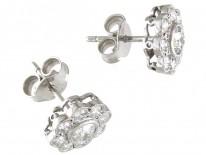 18ct White Gold & Diamond Daisy Cluster Earrings