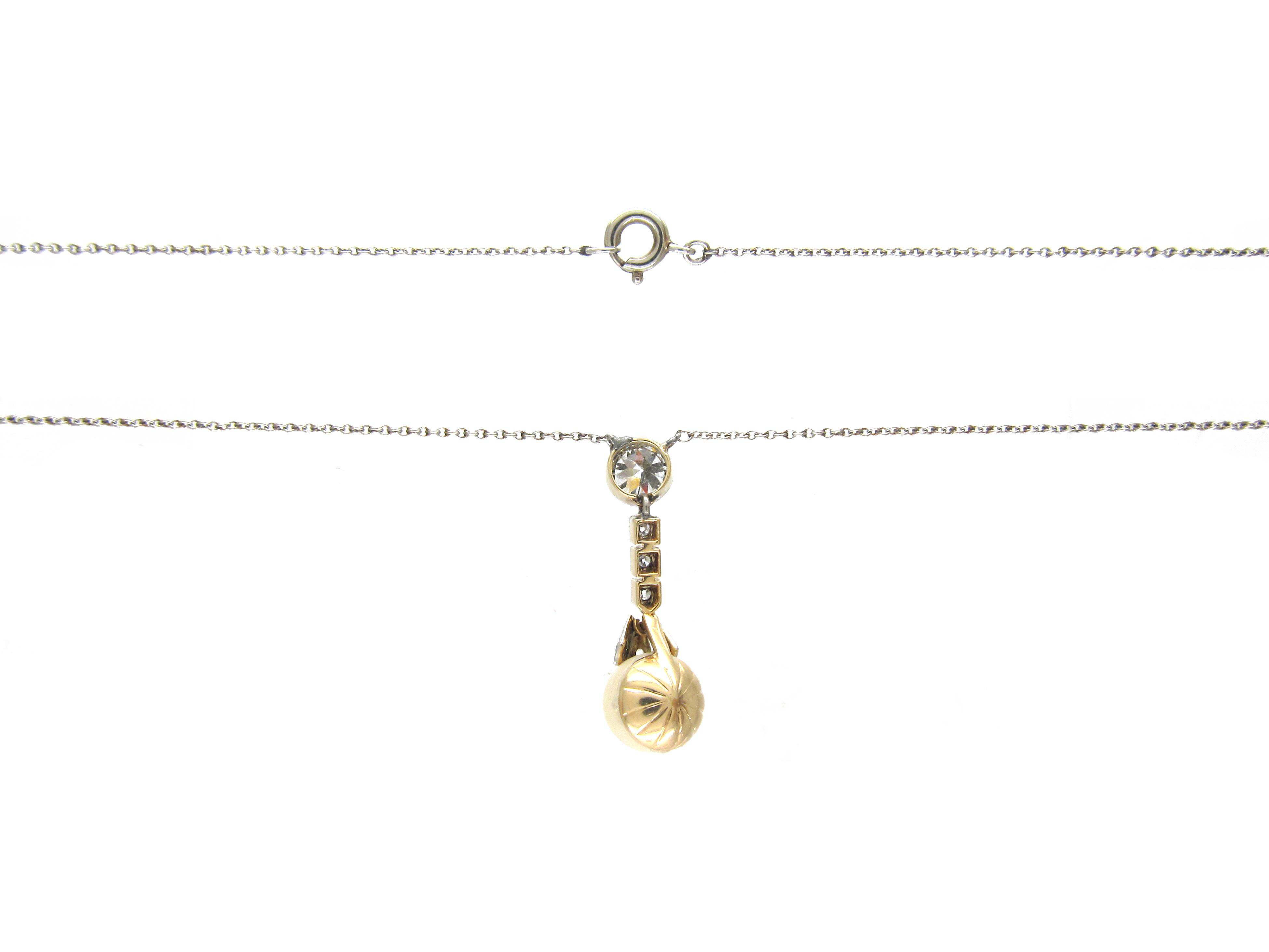 Natural Pearl & Diamond Drop Pendant on Platinum Chain