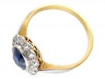 18ct Gold & Platinum Burma Sapphire & Diamond Cluster Ring