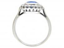 18ct White Gold Rectangular Ceylon Sapphire & Diamond Ring