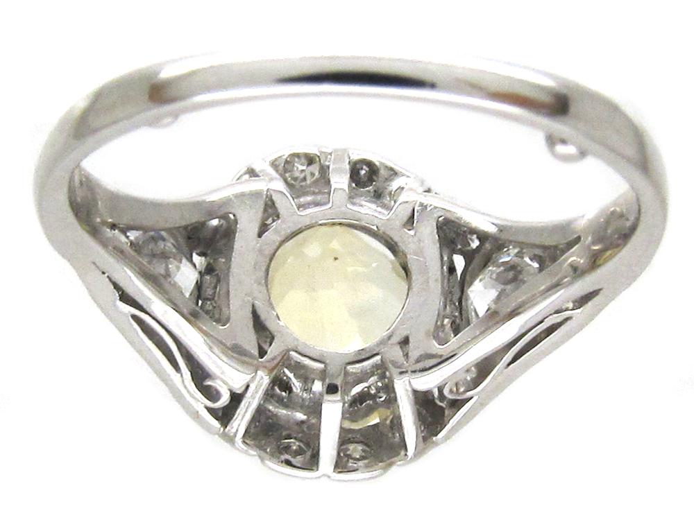 Yellow Sapphire & Diamond & Platinum Art Deco Ring