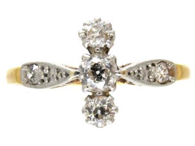 Edwardian Diamond Three Stone Ring with Diamond Shoulders