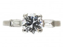 Art Deco 18ct White Gold Diamond Solitaire Ring with Baguette Diamond Shoulders