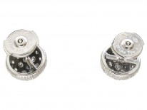 French 18ct White Gold Diamond Cluster Earrings