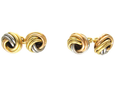 Cartier Three Colour 18ct Gold Knot Cufflinks in Original Case