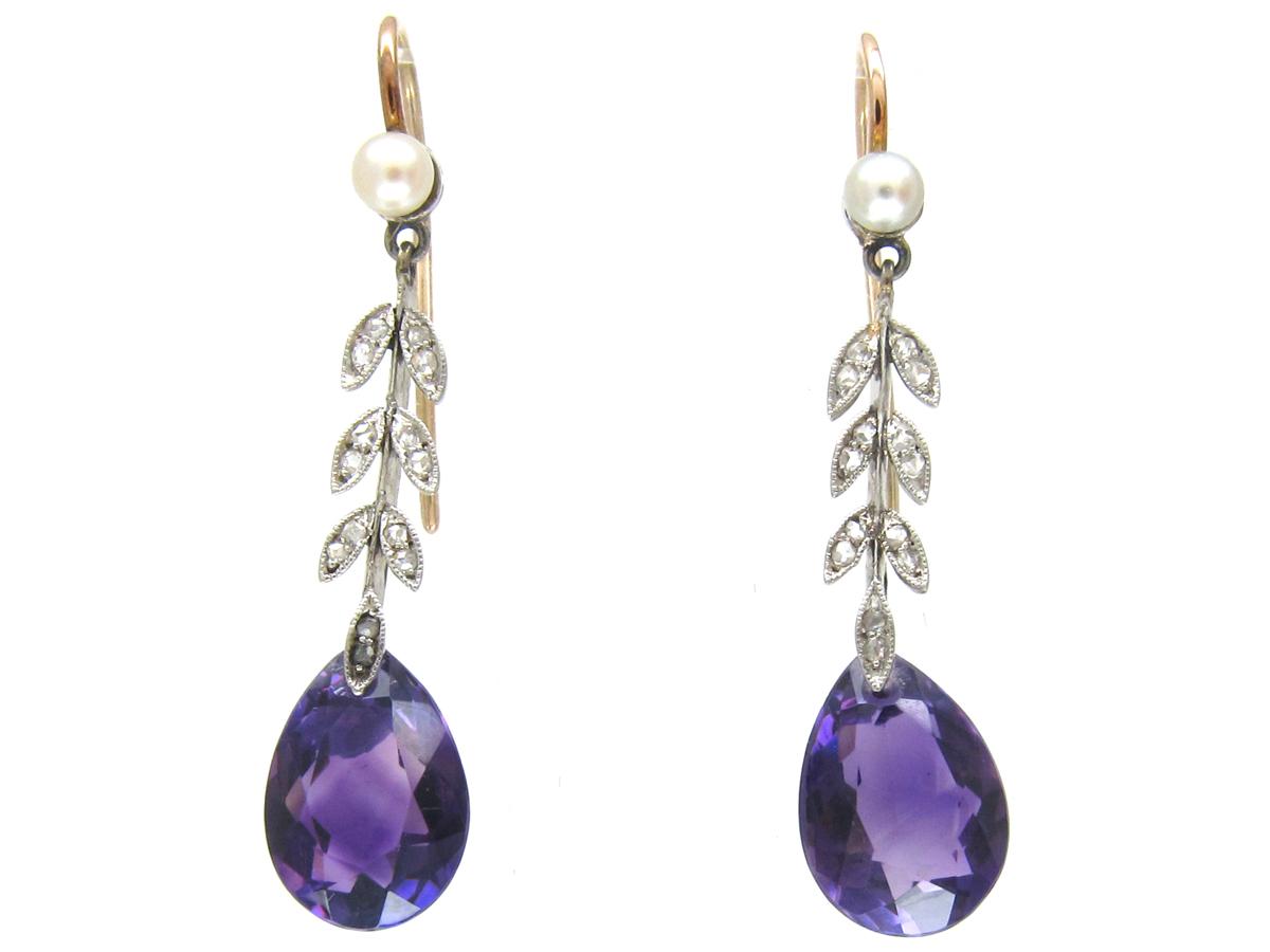 Edwardian Amethyst Natural Pearl & Diamond Drop Earrings